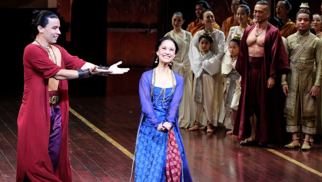 """Ali Ewoldt of Pleasantville, who played the slave girl Tuptim in """"The King and I"""" at Pleasantville High School in 1999, is now understudying the same role on Broadway. Here she takes curtain call with fellow actor Conrad Ricamora (Lun Tha) after a performance at the Vivian Beaumont Theater, Sept. 16, 2015."""