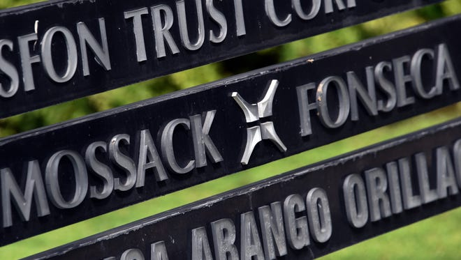 View of a sign outside the building where Panama-based Mossack Fonseca law firm offices are in Panama City, on April 4, 2016.