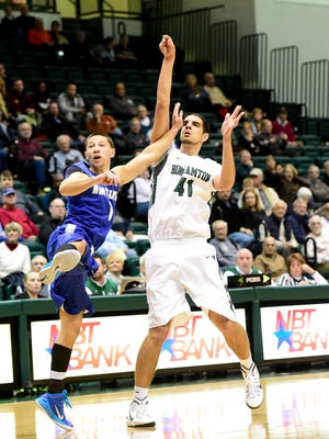 Binghamton University freshman center Dusan Perovic, seen here playing against Hartwick, set the program's single-game scoring record (Division I era) with 34 points in a loss at Boston University.
