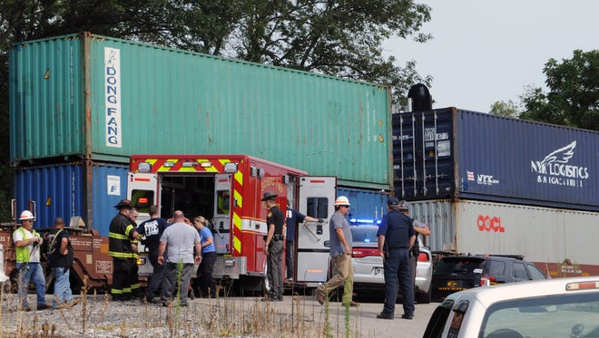 A train collided with a dump truck Thursday along the 6000 block of Three Locks Road where the private drive to Three Locks Gravel Co. crosses the railroad tracks.
