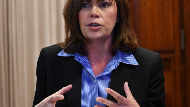 Wichita County District Attorney Maureen Shelton speaks to the Times Record News Editorial Board Wednesday morning about her law career. Shelton is facing an opponent in the upcoming election.