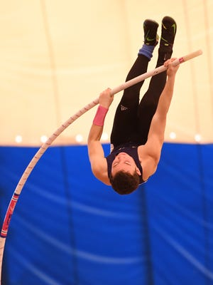NV/Old Tappan's Seth Kricheff on his way to finishing first in the pole vault at the State Meet of Champions at the Bennett Center in Toms River.