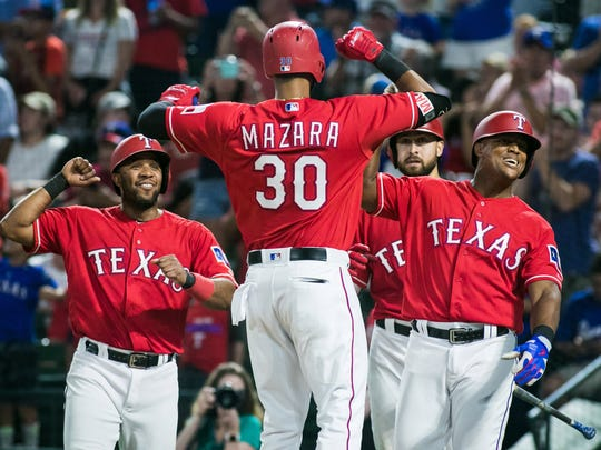 Aug 17, 2017: Texas Rangers right fielder Nomar Mazara