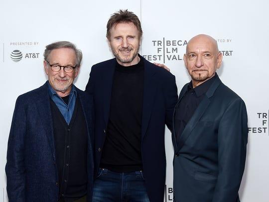 Filmmaker Steven Spielberg, left, reunited with actors
