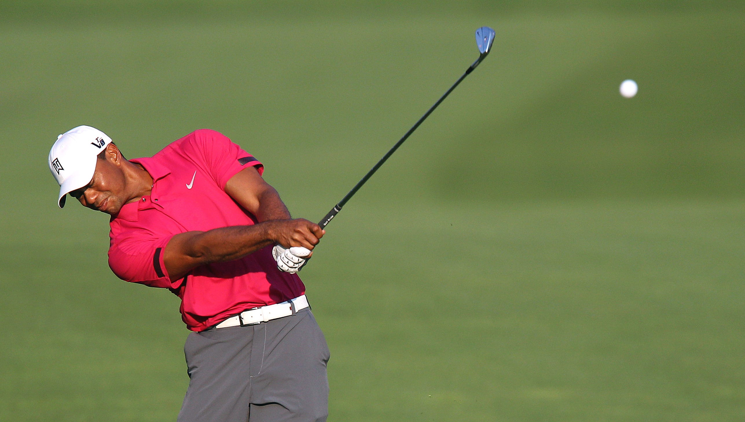 Tiger Woods off the fairway on one.