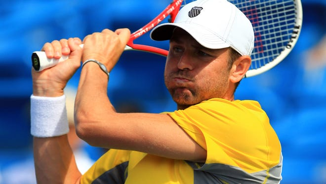 Mardy Fish during his match against Philipp Kohlschreiber at the Western & Southern Open at the Lindner Family Tennis Center, August 12, 2013.