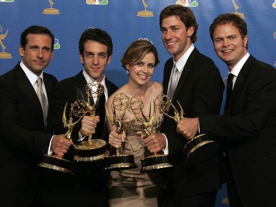 Left to right: Steve Carrell, B.J. Novak, Jenna Fischer,