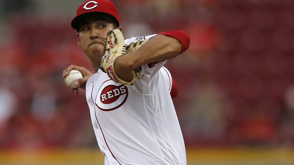 Cincinnati Reds starting pitcher Robert Stephenson (55) delivers to the plate in the second inning during the MLB game between the Colorado Rockies and the Cincinnati Reds, Tuesday, April 19, 2016, at Great American Ball Park in Cincinnati.