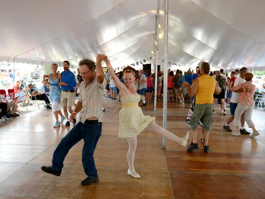 "Attendees dance the polka at the annual ""Pulaski Polka Days"" in Pulaski, WI."