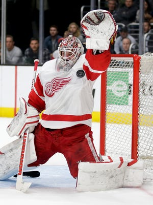 Detroit Red Wings goalie Jonas Gustavsson makes a save against the Los Angeles Kings on Feb. 24, 2015.