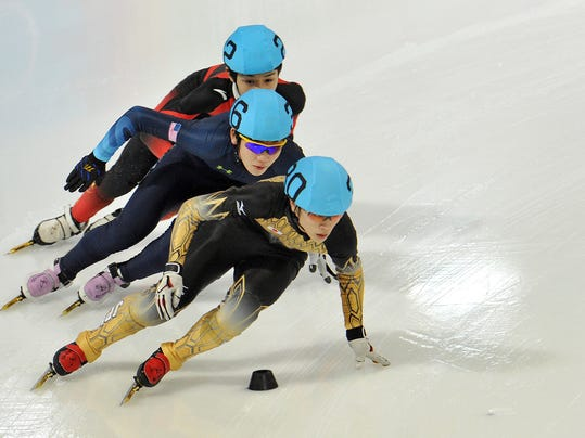 "FILE - In this Jan. 18, 2012 file photo, Japan's Kei Saito leads in front of Thomas Insuk Hong, of the United States, and China's Lu Xiucheng as they compete in the men's 1000 meter short track speed skating competition during the winter Youth Olympic Games in Innsbruck, Austria. Saito has tested positive for acetalozamide, a diuretic that is also a masking agent which can disguise the use of other banned substances. The Court of Arbitration for Sport says Saito ""accepted on a voluntary basis to be provisionally suspended and to leave the Olympic Village.""  He did not race in any event before the test result from a pre-competition sample was confirmed. (AP Photo/Kerstin Joensson, File)"