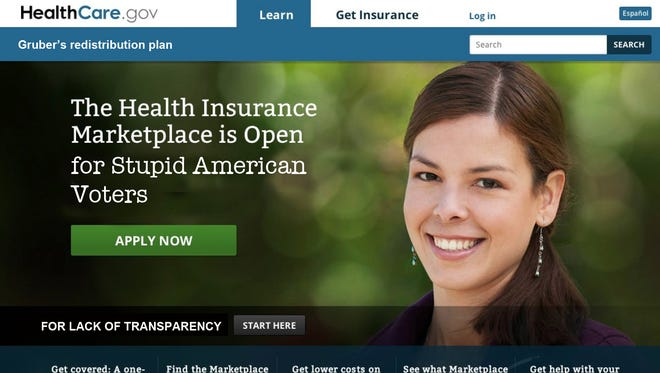 Spoof of Obamacare web site