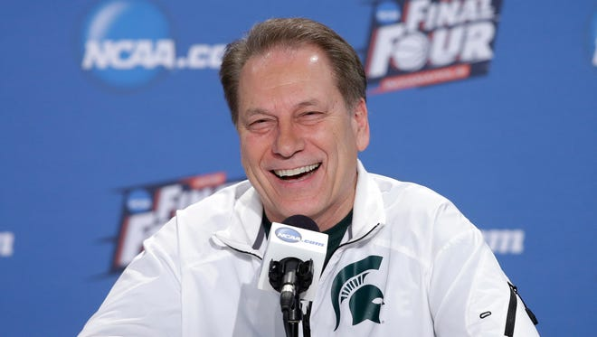 Michigan State head coach Tom Izzo smiles during a news conference for the NCAA Final Four tournament college basketball semifinal game.