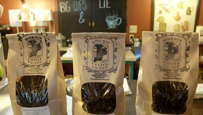 Bags of coffee beans at Hobknob Coffee in Floyds Knobs.
