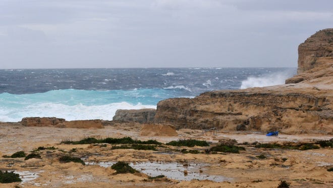 "The part of coast where the Azure Window, a natural rock arch which jutted onto the sea off Malta and was a backdrop for the ""Game of Thrones"" TV series, is seen as it is Wednesday, March 8, 2017, after the arch, that was one of Malta's main landmarks, collapsed in a storm."