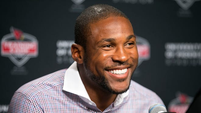 Cardinals cornerback Patrick Peterson talks bout his 5-year, $70 million contract extension, during a press conference at University of Phoenix Stadium in Glendale on Wednesday, July 30, 2014.