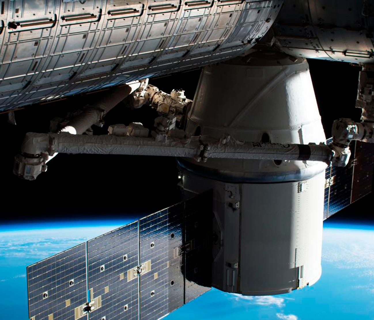 The Dragon capsule arrives at the International Space Station on Wednesday, April 4.