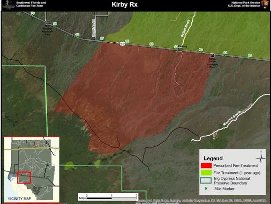 Map of a planned 11,500-acre prescribed burn in Big