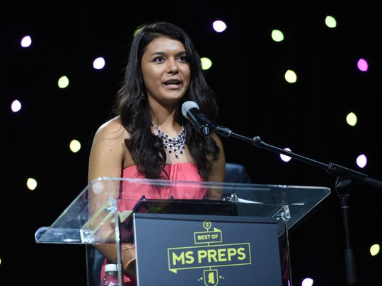 Joe Ellis/The Clarion-Ledger Neshoba Central softball standout Hailey Lunderman said she felt blessed to be named female athlete of the year. Neshoba Central softball standout Hailey Lunderman offers remarks after being named female player of the year during Thursday night's Best of MS Preps banquet at the Jackson Convention Complex.