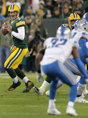 Green Bay Packers quarterback Brett Hundley drops back in the first quarter against the Detroit Lions on Monday, November 6, 2017, at Lambeau Field in Green Bay, Wis.