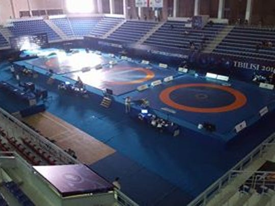 The mats at the Tbilisi Sports Palace in Tbilisi, Georgia where Macey Kilty will be wrestling Thursday and Friday in the Cadet World Championships.