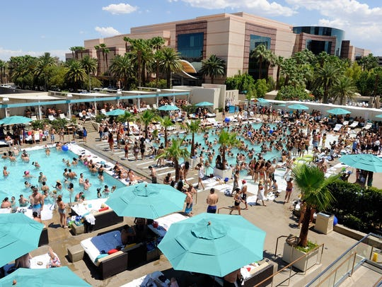 A general view of the Wet Republic pool at the MGM