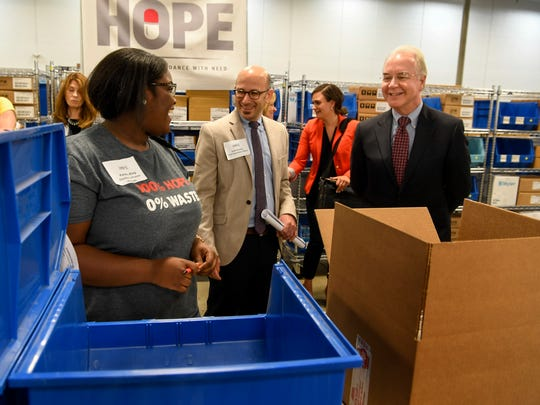 Kendra King is introduced by Josh Kravitz to Human Health Services Secretary Tom Price at they tour Saint Thomas Health's Dispensary of Hope, which is a charitable pharmaceutical distributor in Nashville, Tenn., Tuesday, June 6, 2017.