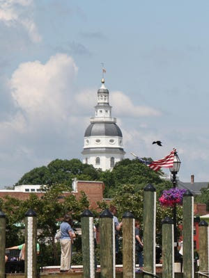 The Maryland statehouse as seen from the water in Annapolis.