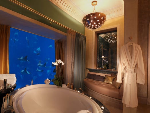 The three-story Underwater Suites at Atlantis, The