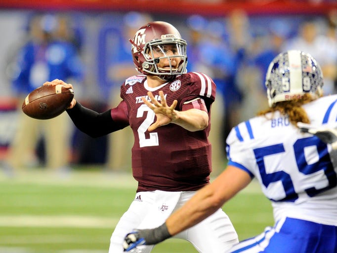 QB: Johnny Manziel, Texas A&M. In what was likely the final game of his superb college career, Manziel completed 30 of 38 pass attempts for 382 yards and four touchdowns and added 73 yards and a score on the ground in a Chick-fil-A Bowl victory.