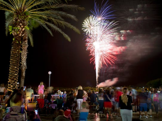 Fireworks light up the night sky over the lake at Tradition Square in this 2013 photo. This year's New Year's Eve in Tradition Square is 5-9 p.m. and will feature entertainment for all ages, a petting zoo, pony rides, bounce houses, food and drink vendors and fireworks.