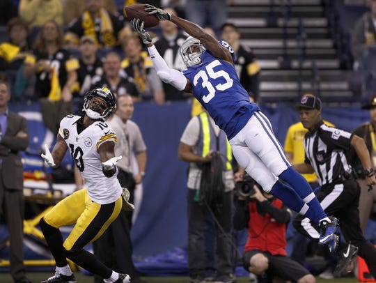 Pierre Desir intercepts a pass from Pittsburgh Steelers