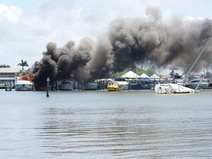 A boat that caught fire Monday afternoon at Capri Marina