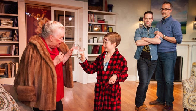 """Peggy Lewis, Asa Baker-Rouse, Justin D. Quackenbush and John Jensen perform in """"Mothers and Sons"""" by Vermont Stage."""
