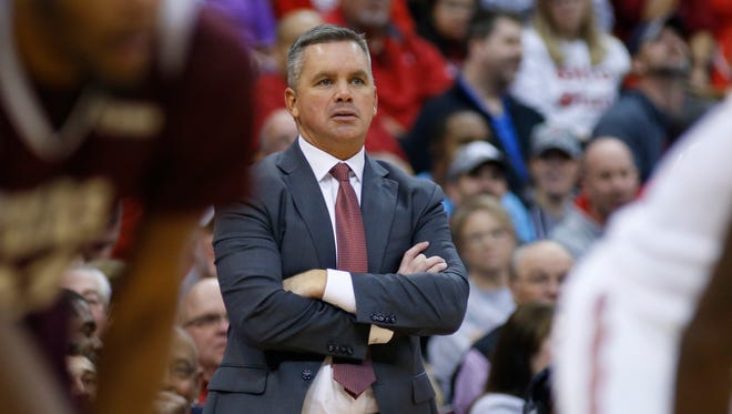 Ohio State coach Chris Holtmann instructs his team against Texas Southern during an NCAA college basketball game Nov. 16, 2017, in Columbus, Ohio.