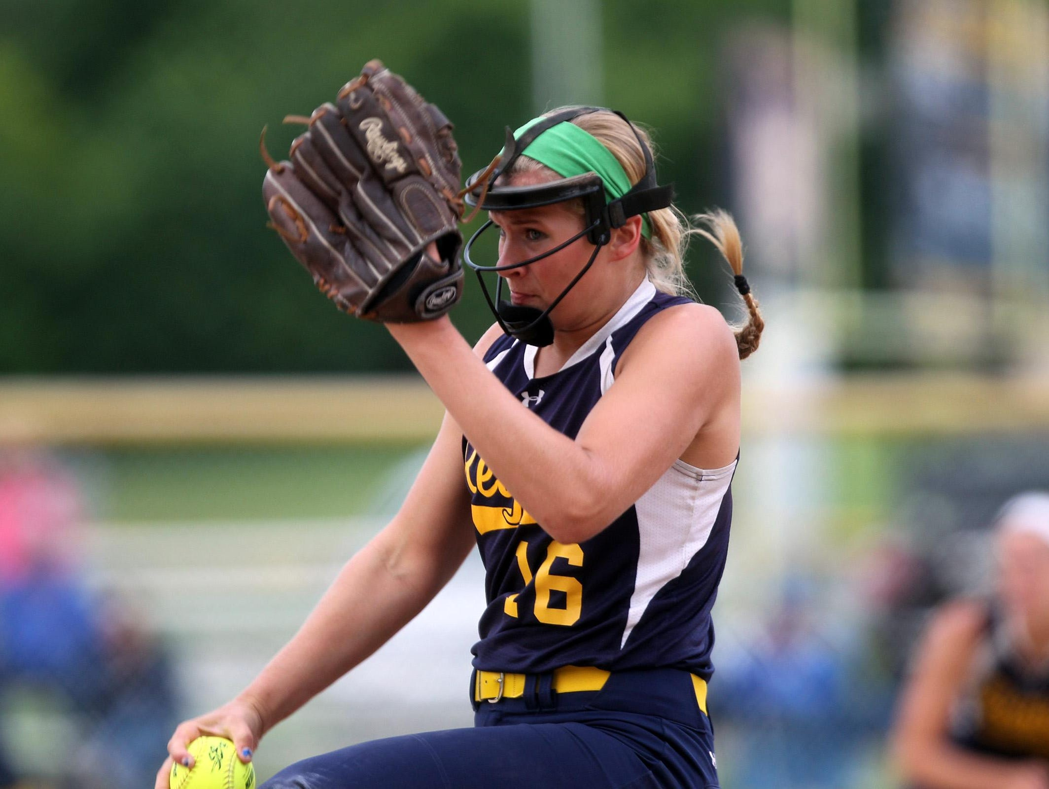 Regina's Sarah Lehman delivers a pitch during the Regals' game against Columbus on Wednesday, July 8, 2015.
