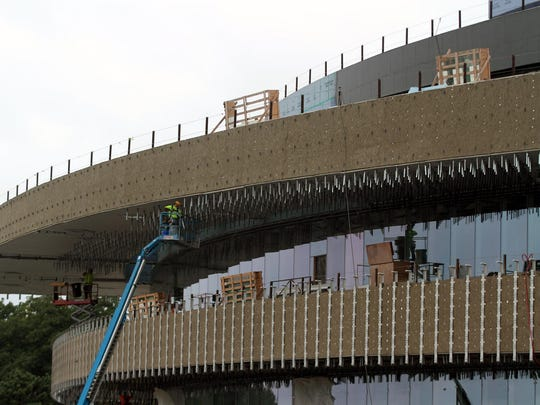 Construction continues at Hancher Auditorium on Wednesday.