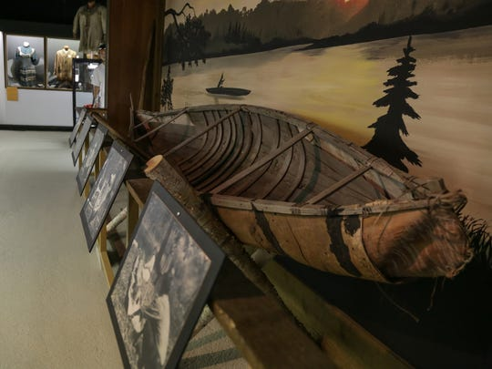 A birch bark canoe display is seen at Fort de Buade