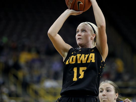 Iowa's Whitney Jennings takes a shot during the Hawkeyes' game against Drake at Carver-Hawkeye Arena on Tuesday, Dec. 22, 2015.