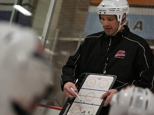 Patrik Stefan, a former No.1 overall pick in the NHL draft in 1999, coaches the Little Caesars team at the Southfield ice rink on Thursday.
