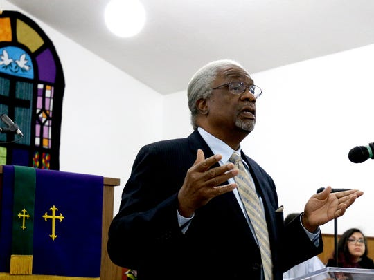 Frank Thompson discusses the need to end the death penalty, a long-held belief of Dr.  Martin Luther King Jr., at Salem Mission Faith Ministries following a march in celebration of Martin Luther King Jr. Day in Salem on Monday, Jan. 18, 2016.