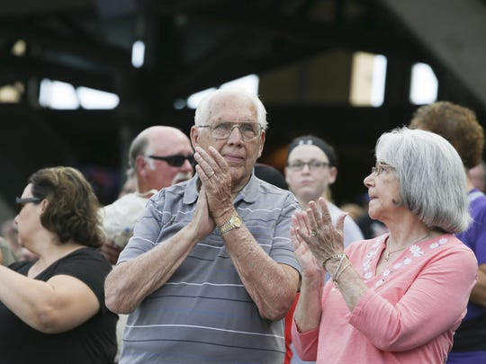 Wally Myers and his wife, Anne Myers watch from their usual seats in Section 108 right behind the Indianapolis Indians dugout during Tribe's game against the Louisville Bats game at Victory Field on July 5, 2016. Wally is believed to be the Indians' longest season-ticket holder at 59 years.