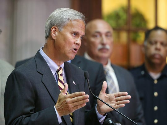 State Sen. Jim Merritt spoke at a news conference Tuesday,