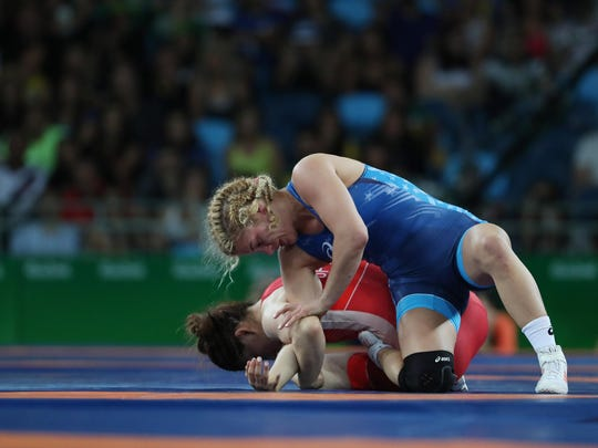 Helen Louise Maroulis (USA) competes against Saori Yoshida (JPN) during the women's freestyle 53kg finals in the Rio 2016 Summer Olympic Games at Carioca Arena 2.