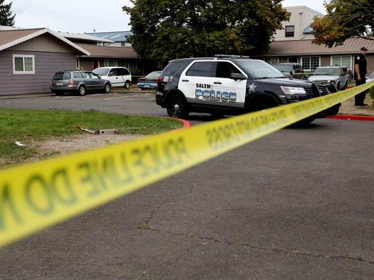 Police investigate after a fatal shooting on the 2500 block of Hyde Court SE in Salem on Monday, Sept. 19, 2016.