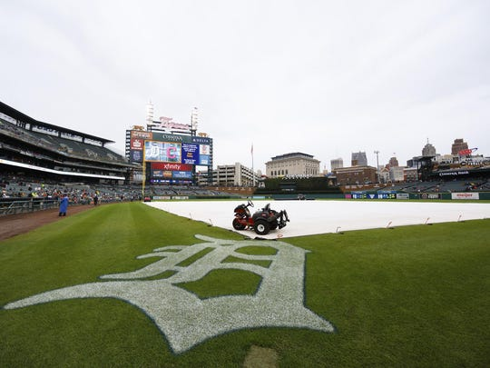 Sep 29, 2016; Detroit, MI, USA; Tarp is on the field during a rain delay before the game between the Detroit Tigers and the Cleveland Indians at Comerica Park.