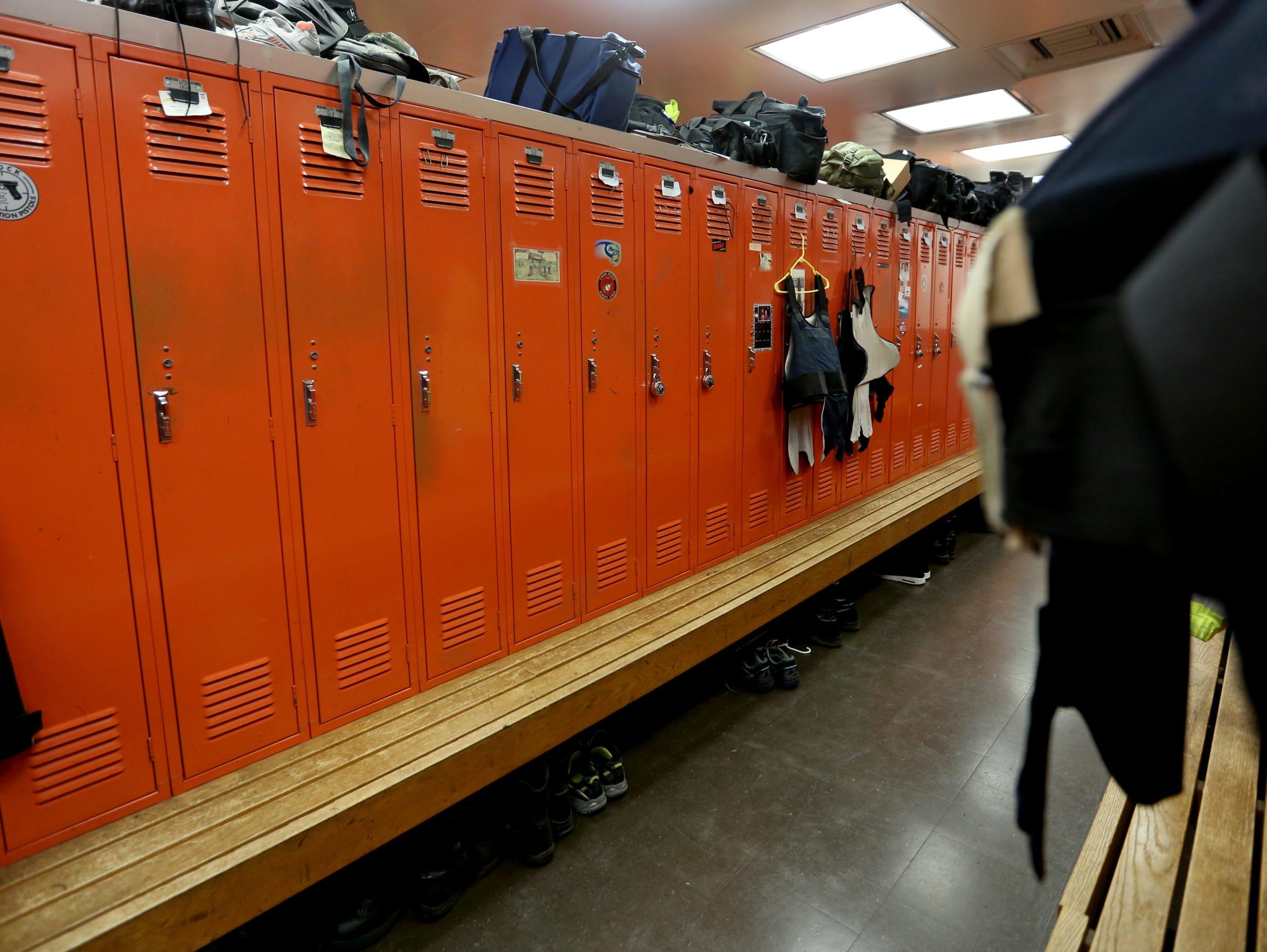 The men's locker room at the Salem Police Department