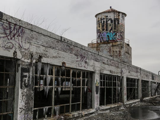 The roof of the vacant Fisher Body Plant No. 21 in