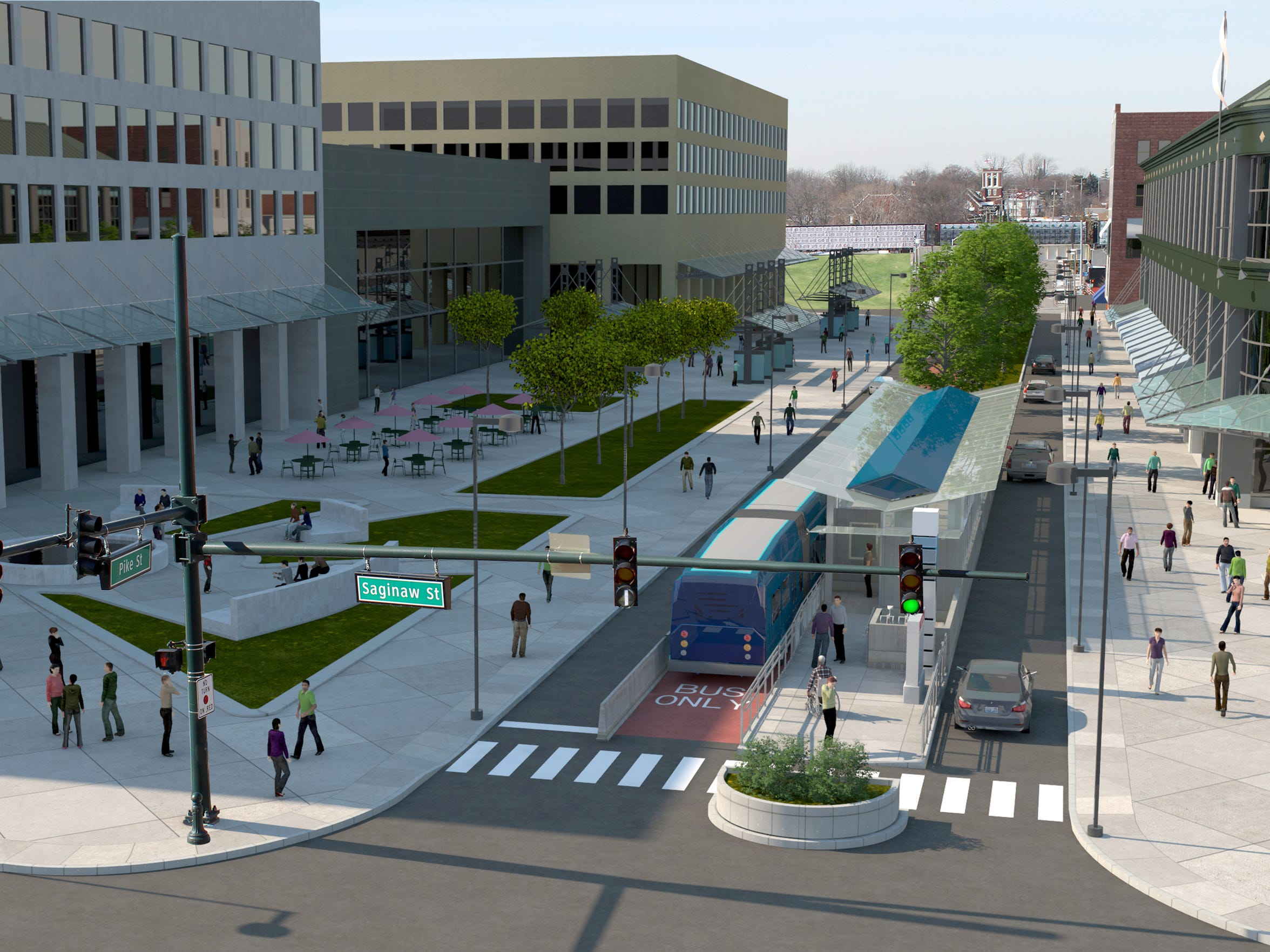 A rendering provided by the Regional Transit Authority of Southeast Michigan shows how a bus rapid transit line might appear in downtown Pontiac if the RTA master plan is approved by voters.
