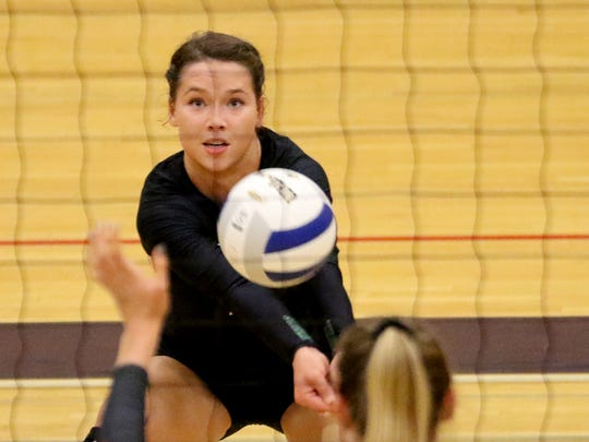 West Salem's Kasey Campbell (2) plays in the OSAA Class 6A quarterfinal volleyball match of Clackamas vs. West Salem at Liberty High School in Hillsboro on Friday, Nov. 4, 2016. West Salem lost in four sets.